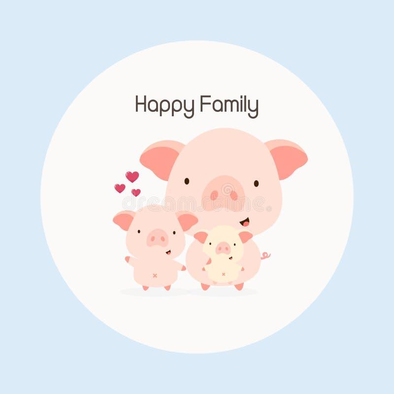 Happy family animal cartoon. pig and baby pig. stock illustration