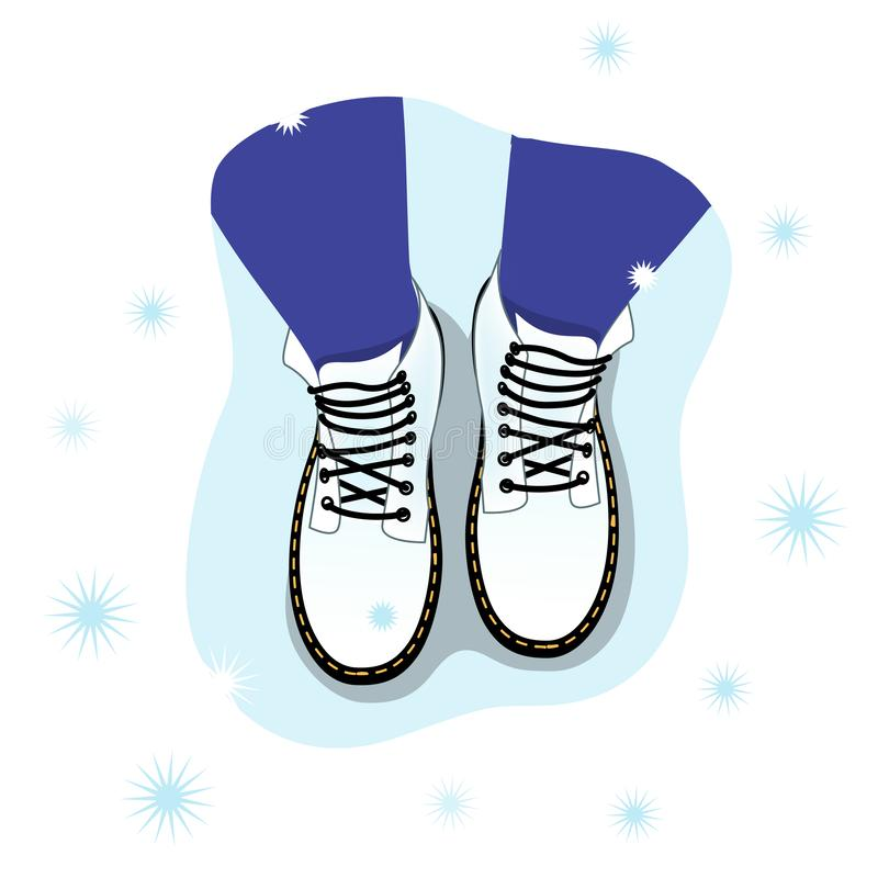 Vector illustration of the top view of the female legs in boots on the snow. The psychological concept of personal boundaries. Loneliness stock illustration