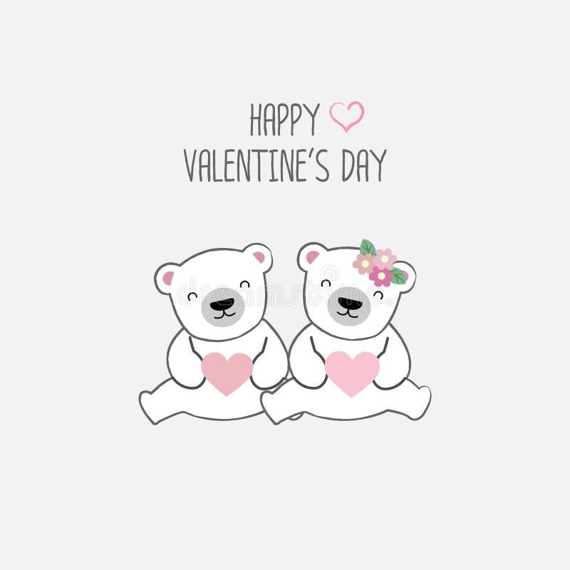 Happy Valentine`s day postcard. Sweet couple bear cartoon vector illustration. Happy Valentine`s day postcard. Sweet couple animals cartoon vector illustration stock illustration