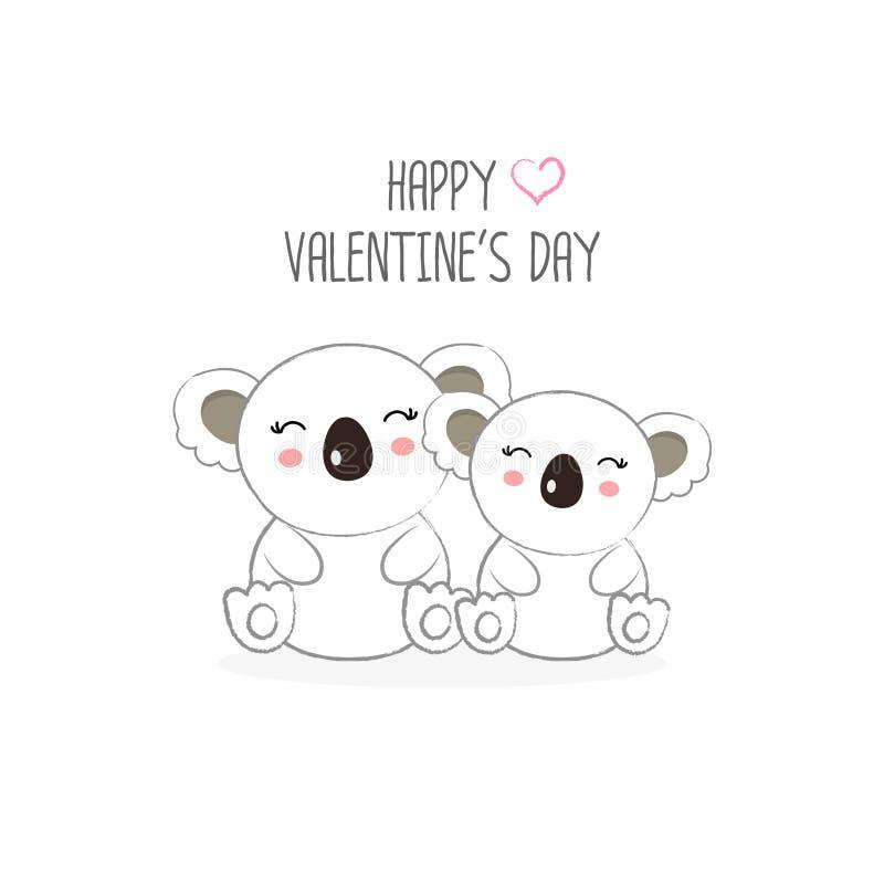 Happy Valentine`s day postcard. Sweet couple koalas cartoon. Happy Valentine`s day postcard. Sweet couple koalas cartoon vector illustration vector illustration
