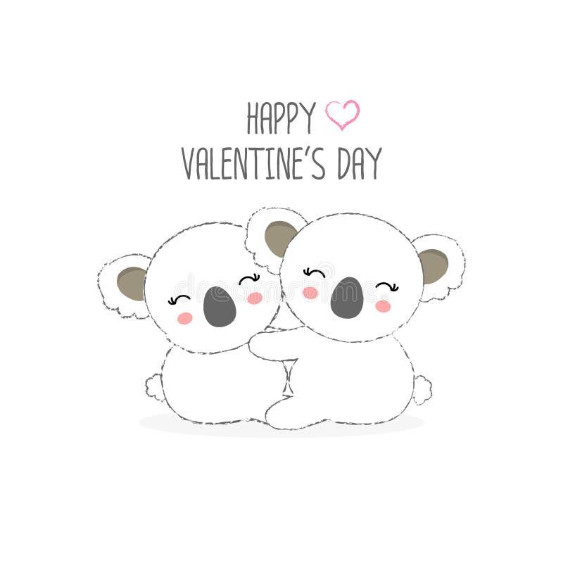 Happy Valentine`s day postcard. Sweet couple  Koala cartoon vector illustration. Happy Valentine`s day postcard. Sweet couple animals cartoon vector royalty free illustration