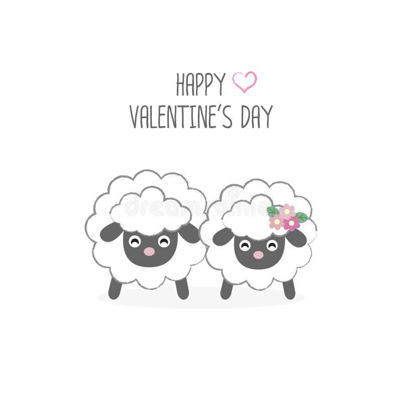 Happy Valentine`s day postcard. Sweet couple sheep cartoon . Happy Valentine`s day postcard. Sweet couple sheep cartoon vector illustration vector illustration