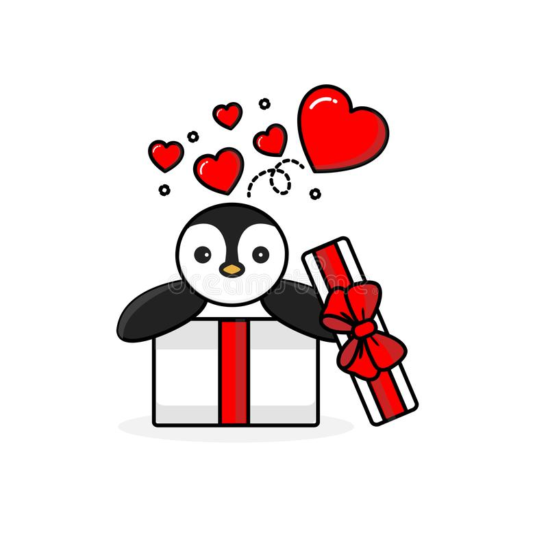 Happy penguin inside the open gift box with fly hearts. vector illustration