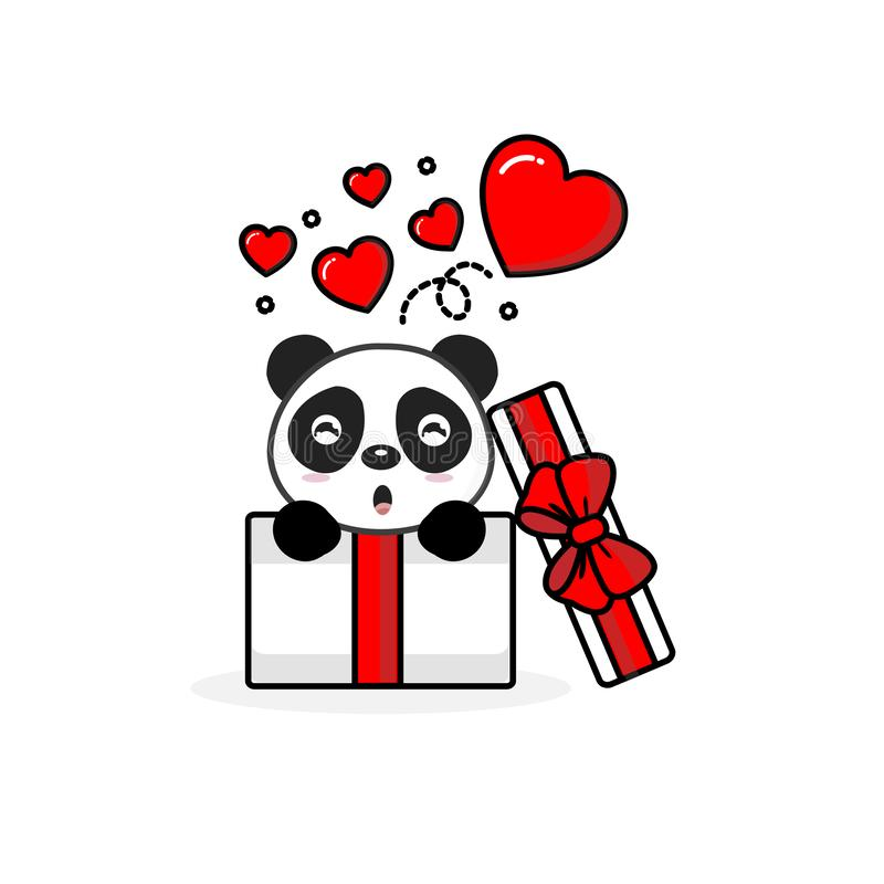 Happy panda inside the open gift box with fly hearts. Vector illustration stock illustration