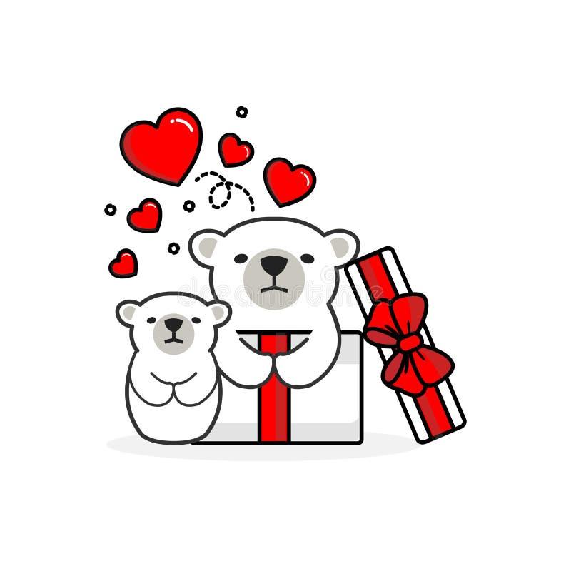 Happy polar bear inside the open gift box with fly hearts. Vector illustration stock illustration