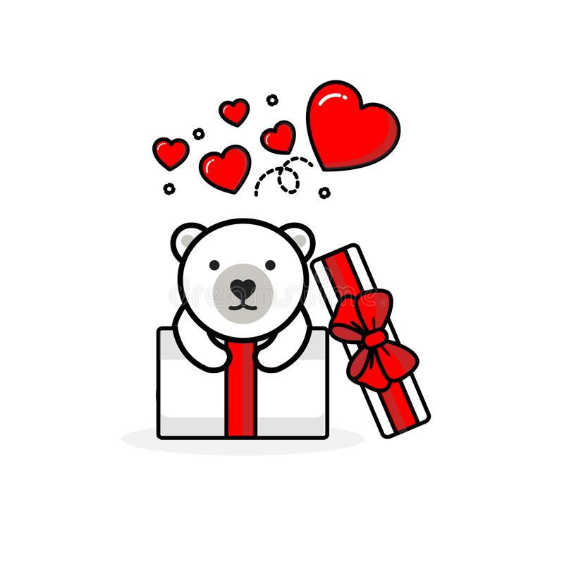 Happy polar bear inside the open gift box with fly hearts. Vector illustration royalty free illustration