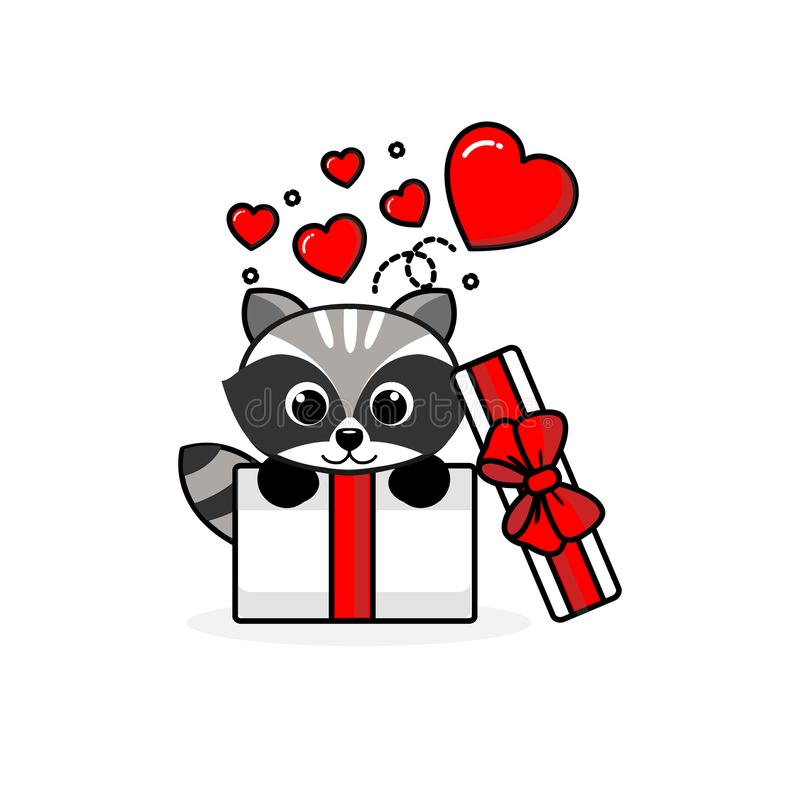 Happy raccoon inside the open gift box with fly hearts. Vector illustration royalty free illustration