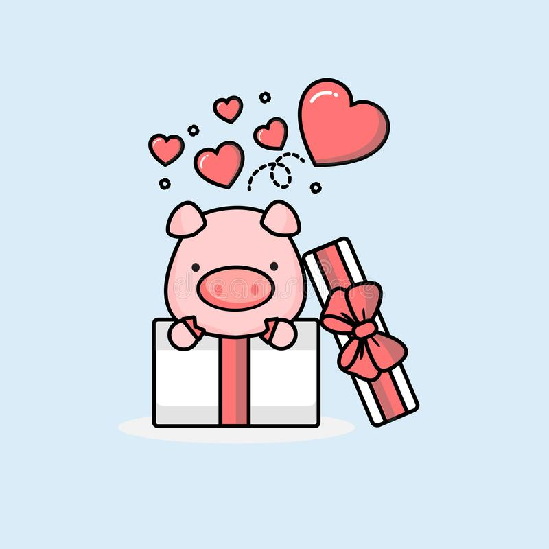 Happy pig inside the open gift box with fly hearts. Vector illustration stock illustration