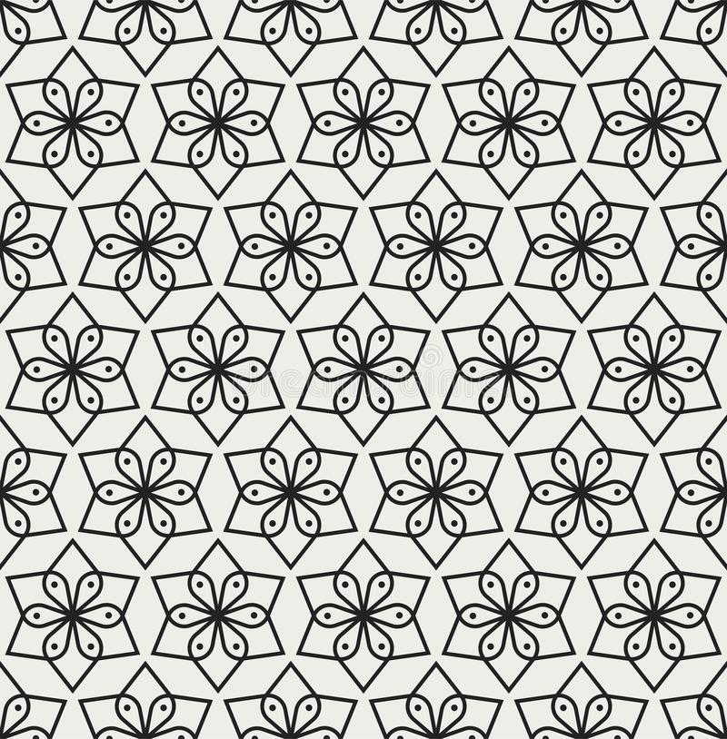 Seamless Arabesque Floral Pattern. Art Deco Style Background. Vector Abstract Flower Texture. Classic Art Deco Seamless Pattern. Geometric Stylish Texture vector illustration