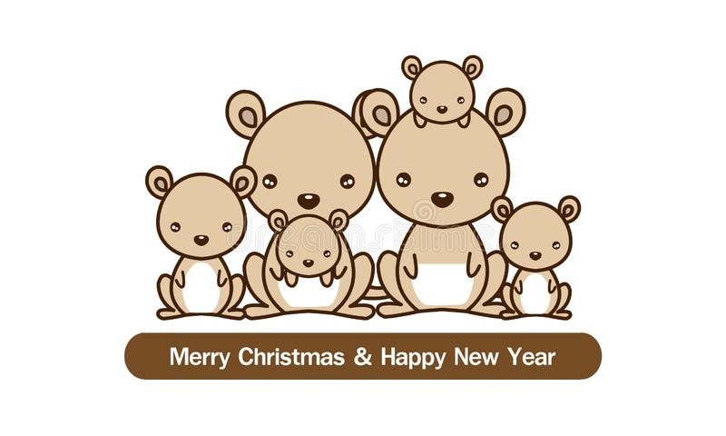 Happy new year card. Kangaroo family. Cute animal cartoon. vector illustration