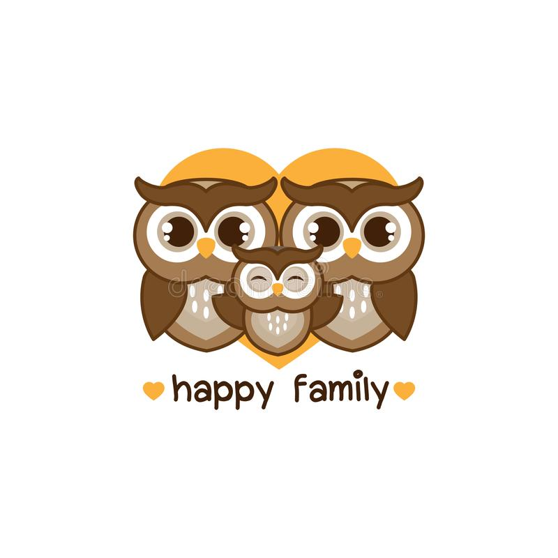 Happy owl family. Dad mom and baby owl cartoon with heart. vector illustration