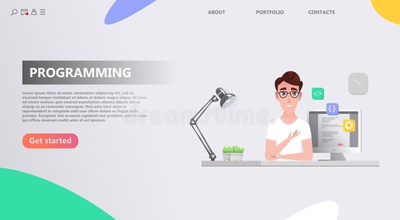 Programmer at work concept. stock illustration