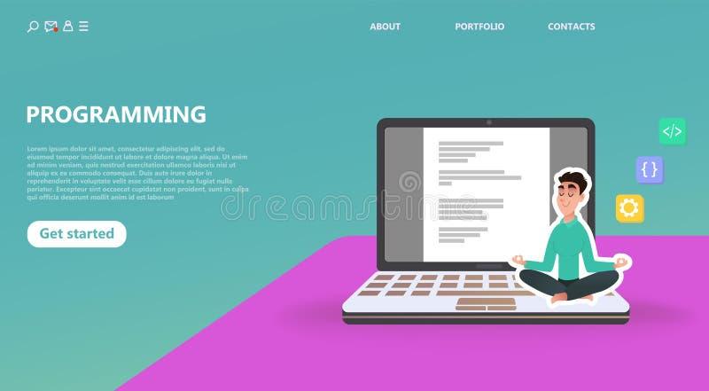 Programmer at work concept stock illustration