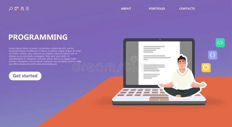 Programmer at work concept. royalty free illustration