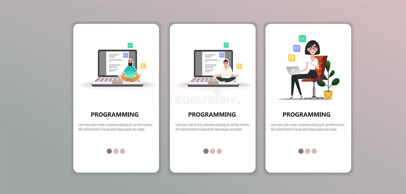 Programmer at work concept. vector illustration