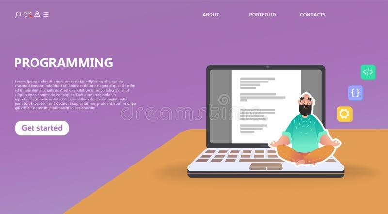 Programmer at work concept vector illustration