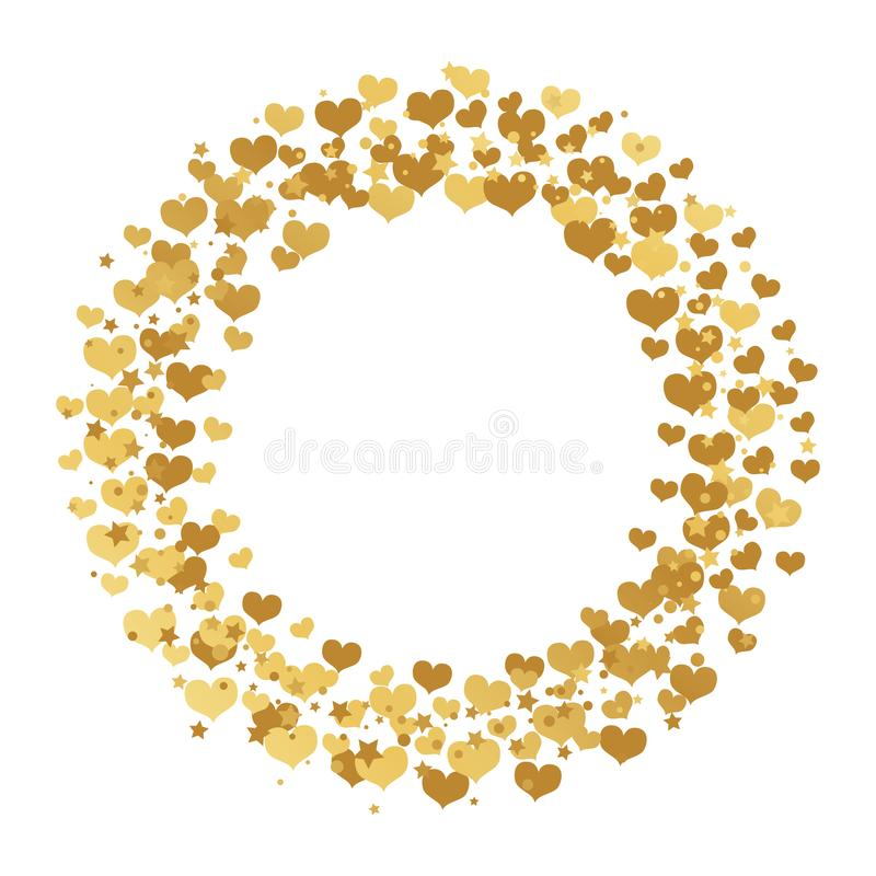 Round frame with gold confetti hearts, stars and circles isolated on white background. stock illustration