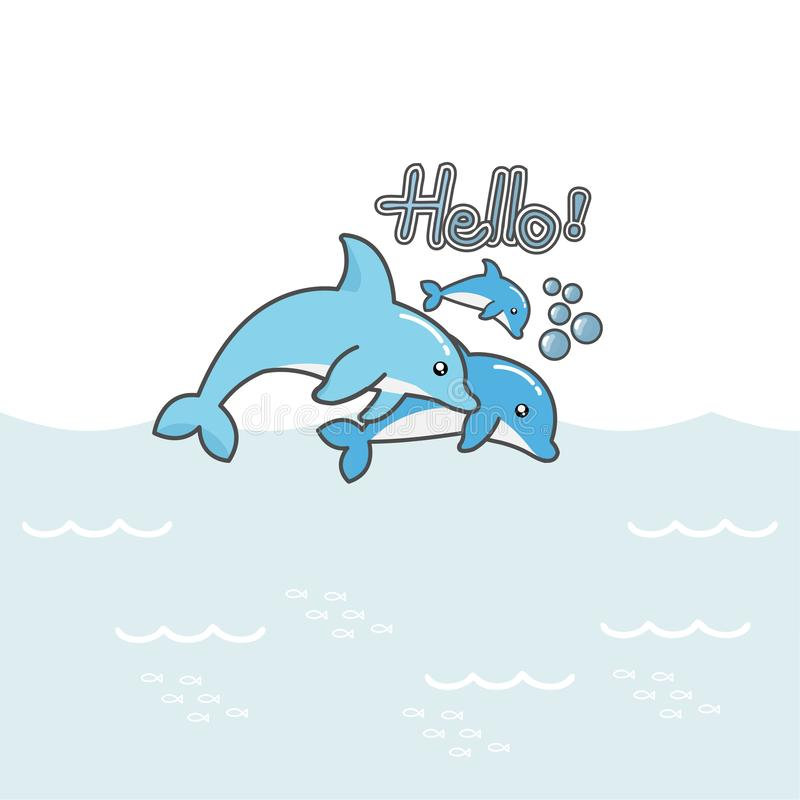 Cute dolphins say  Hello!. stock illustration