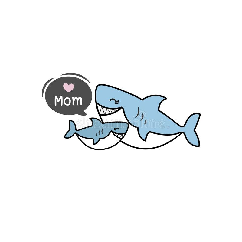 Happy Mother's day greeting card with cute sharks cartoon. Vector illustration. stock illustration