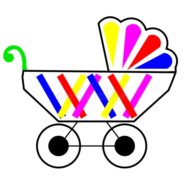 Web. Baby stroller for baby boy with bag in basket. Vector icon. Print for clothes, bags, postcard, element of logo for baby shop. Baby stroller for baby boy stock illustration