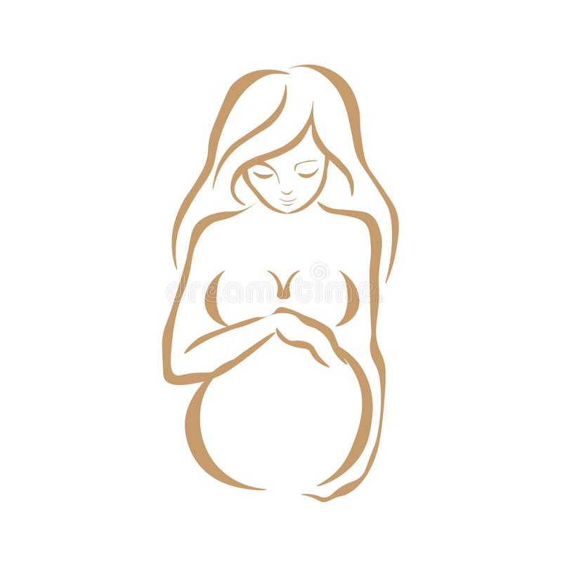 Web. Pregnant women in third trimester of pregnancy. Illustration for websites, magazines and brochures. royalty free illustration