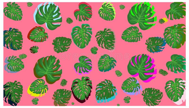 Tropical palm leaves, jungle leaves seamless vector floral pattern background. Beautiful vector spring summer background with tropical flowers, palm leaves stock illustration