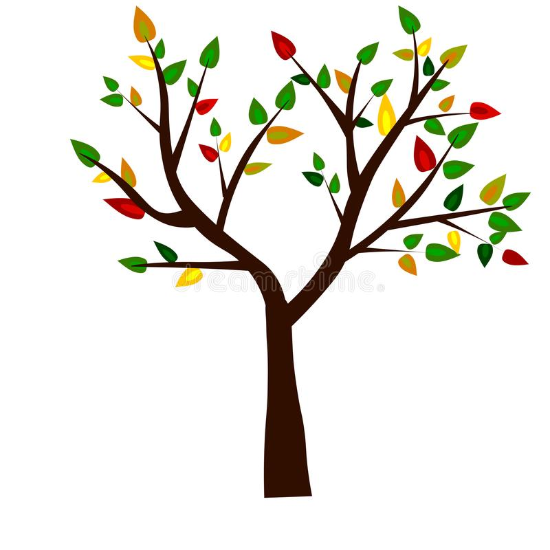 Web. Shape of Tree, Roots and Green Leafs. Vector Illustration. royalty free illustration