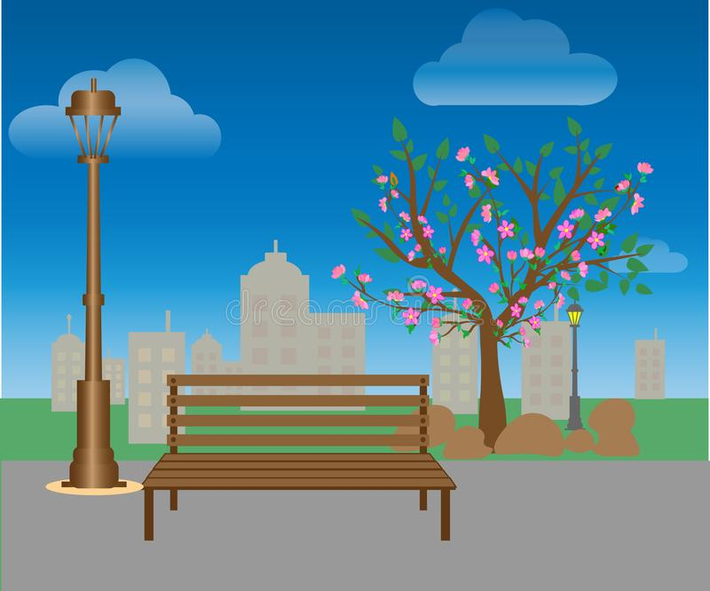 Benches and lanterns in the city park. Landscape: park path, green lawn, trees, bushes, city on the horizon. stock illustration