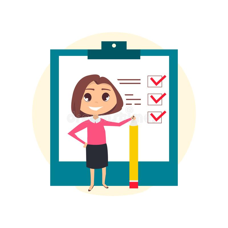 Business woman with pencil. stock illustration