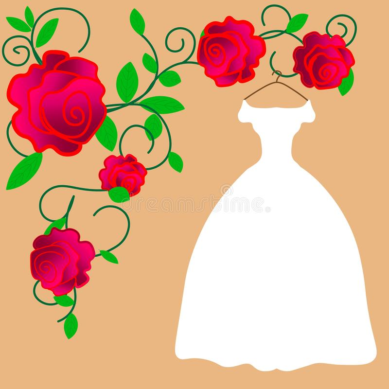 Bride in elegant wedding dress. Isolated vector illustration in flat style. Young pretty girl in white modern clothing. Perfect br stock illustration