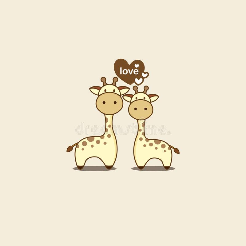 Valentine`s day card with cute couple giraffe in love. royalty free illustration