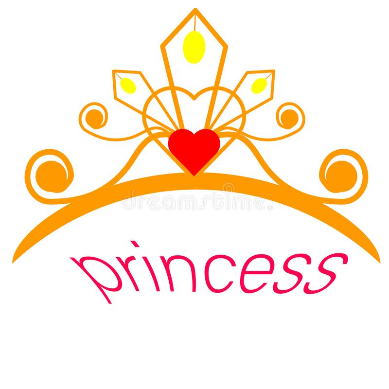 Web. Glittering Diadem. Golden tiara isolated on black background. Vector illustration royalty free illustration