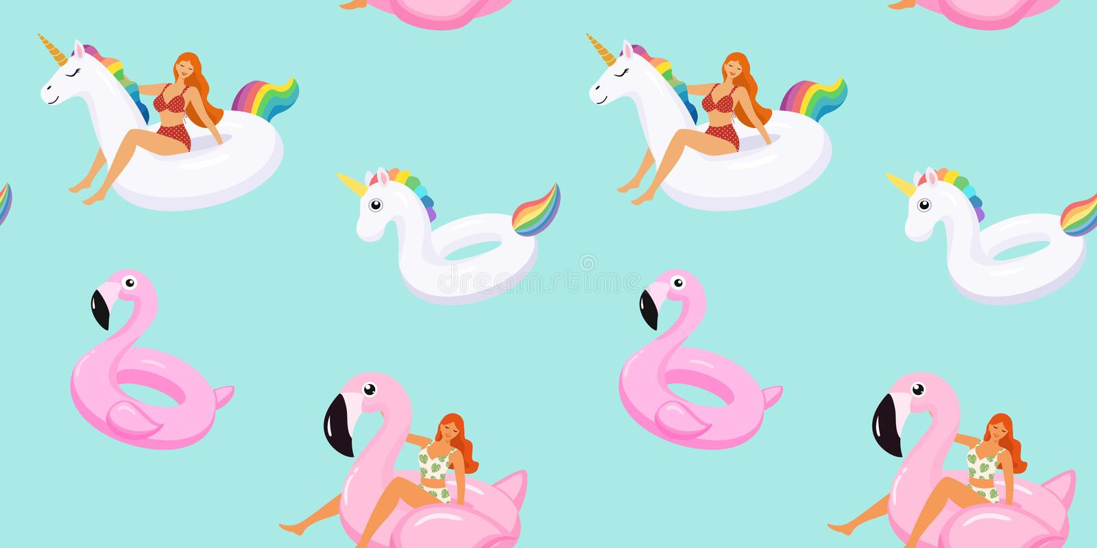 Summer pattern with cute girls in trendy swimsuits on inflatable swimming pools flamingos and unicorn. Vector seamless texture. Summer pattern with cute girls stock illustration