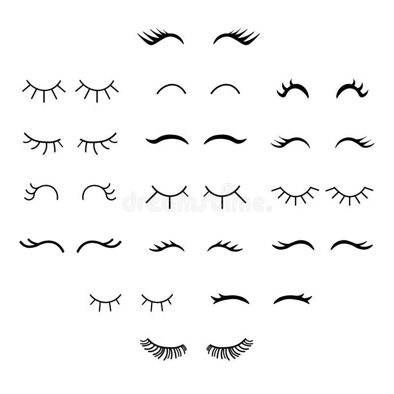 Set of cute cartoon eyelashes. Open and closed hand drawing eyes. royalty free illustration