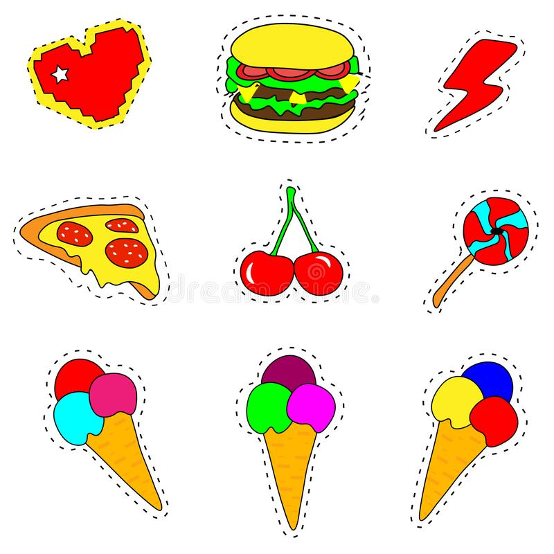 Web. Trendy cool set of fast food patch badges in pop art style. Vector collection of neon stickers and pins with meal. Trendy cool set of fast food patch badges stock illustration