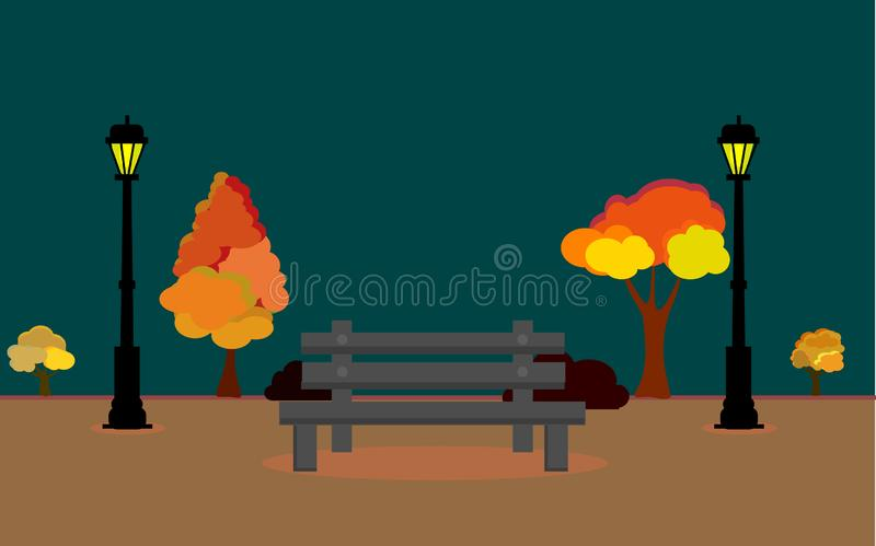 Vector illustration of Autum landscape with full moon and leaves falling from the tree, Vector Autumn field at night timee, Autumn royalty free illustration