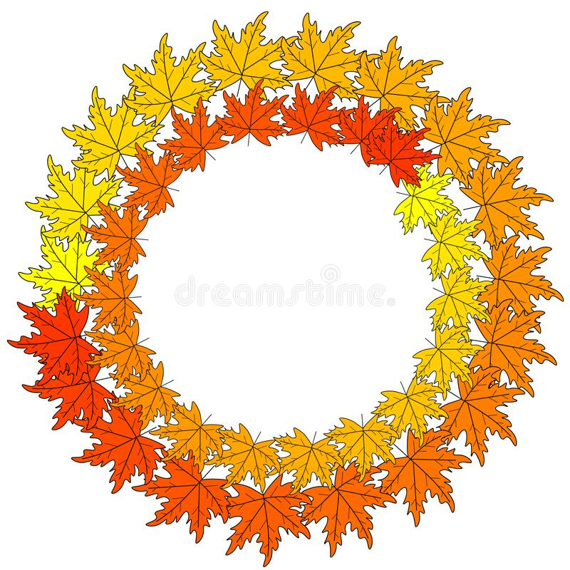 Web autumn wreath. Autumn composition. Wreath made of autumn flowers and leaves on white background. Flat lay, top view, copy spac. Autumn wreath. Autumn royalty free illustration