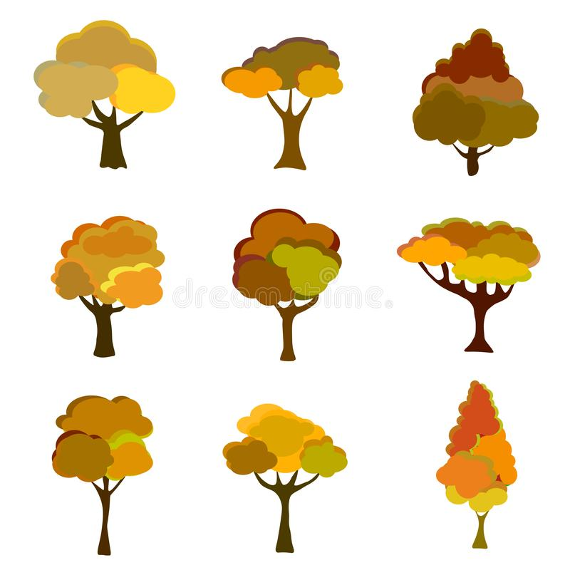 Autumn Trees, Isolated On White Background. Simple collection of autumn trees of different shapes. Vector vector illustration