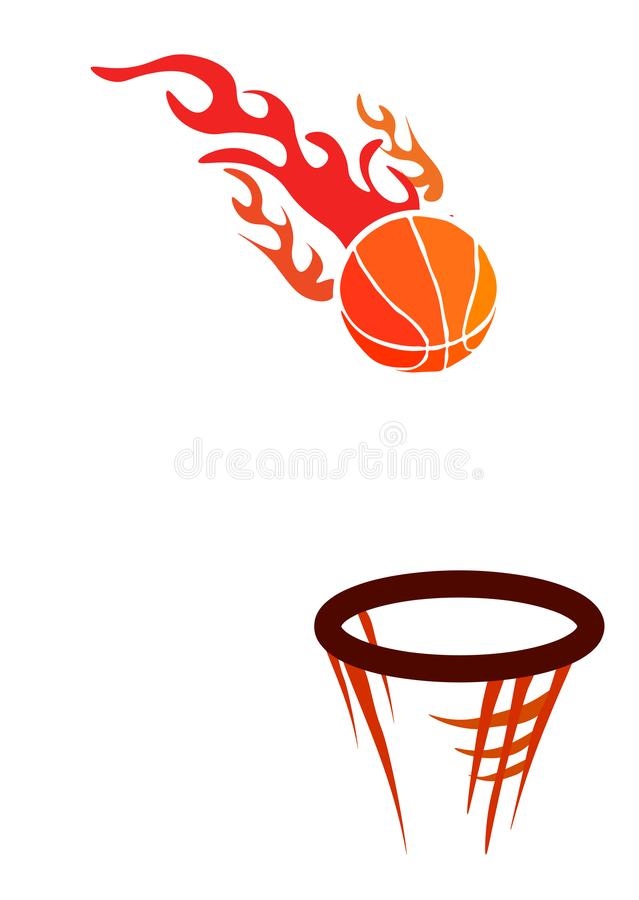 Web. Vector logo for a basketball club, consisting of an orange fire flame burning basketball ball in a basket with net mesh vector illustration