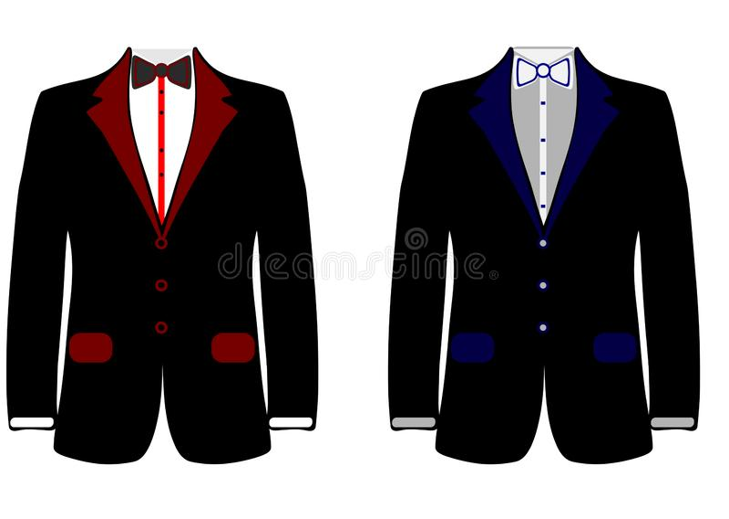 Web Men`s jacket. Collection. Wedding men`s suit, tuxedo. Vector illustration royalty free illustration
