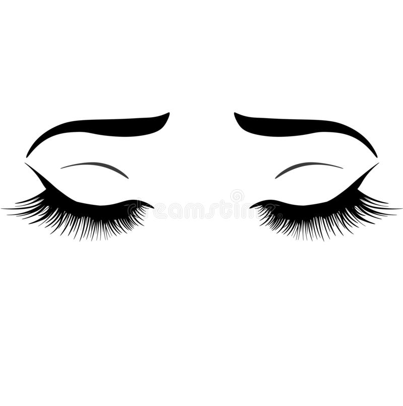 Web Illustration with woman`s eyes, eyebrows and eyelashes. Makeup Look. Tattoo design. royalty free illustration