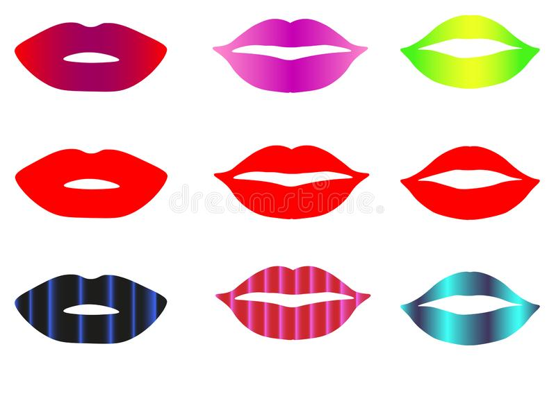 Web Red lips collection. Vector illustration of sexy woman`s flat lips expressing different emotions, such as smile royalty free illustration