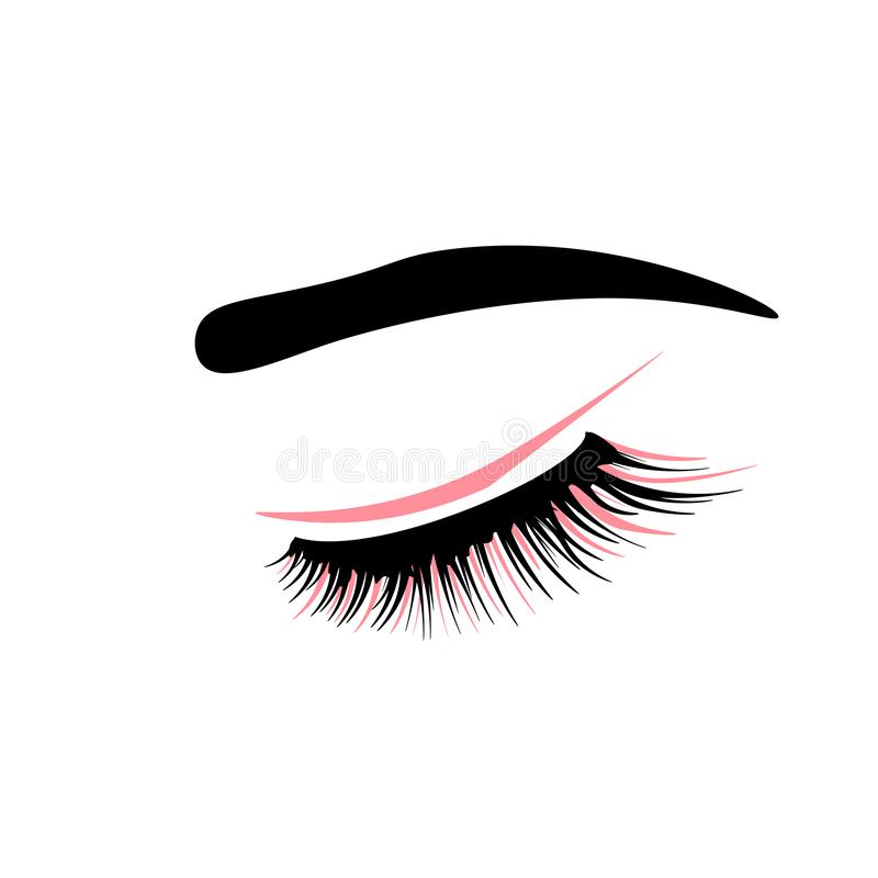 Web Eyelash extension logo. Makeup with pink glitter. Vector illustration in a modern style. stock illustration
