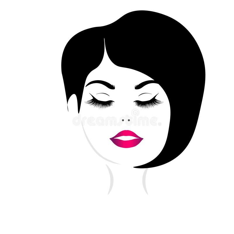 Web Beautiful girl`s face vector illustration