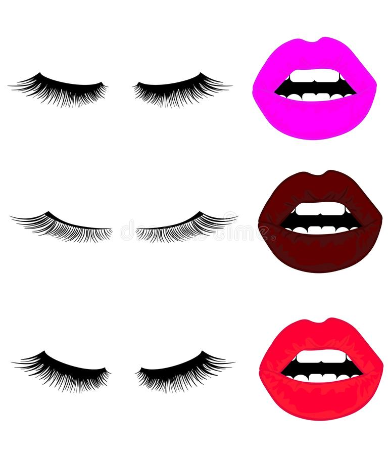 Web Set of lips with eyelashes. Vector. Illustration with collage of woman`s eyebrows, eyelashes, sexy lips and luxury lipstick . vector illustration