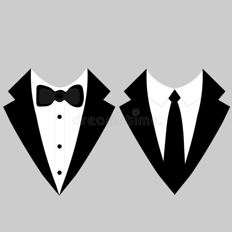 Web Men`s jackets. Tuxedo. Wedding suits with bow tie and with necktie. Vector illustration stock illustration