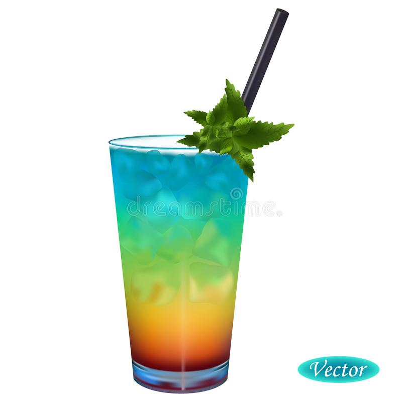 Realistic rainbow cocktail vector illustration