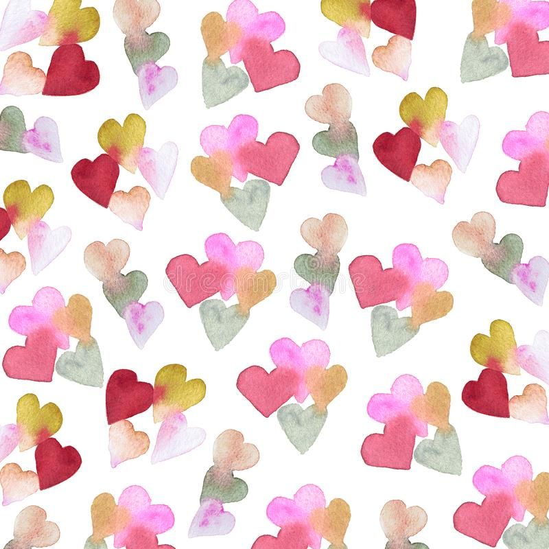 Watercolor pattern with hearts. Isolated on white background closeup hand made. Valentine`s Day royalty free stock photo