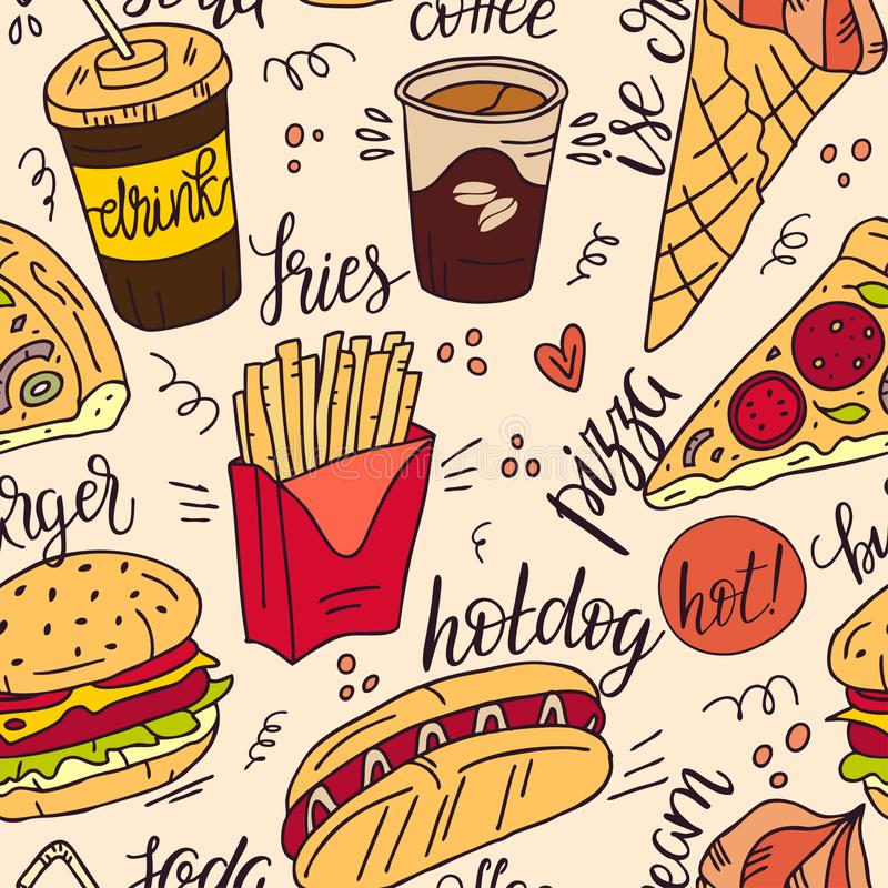 Seamless pattern of products. Color fast food illustration of a sketch of street food. Hand drawn illustration. royalty free illustration