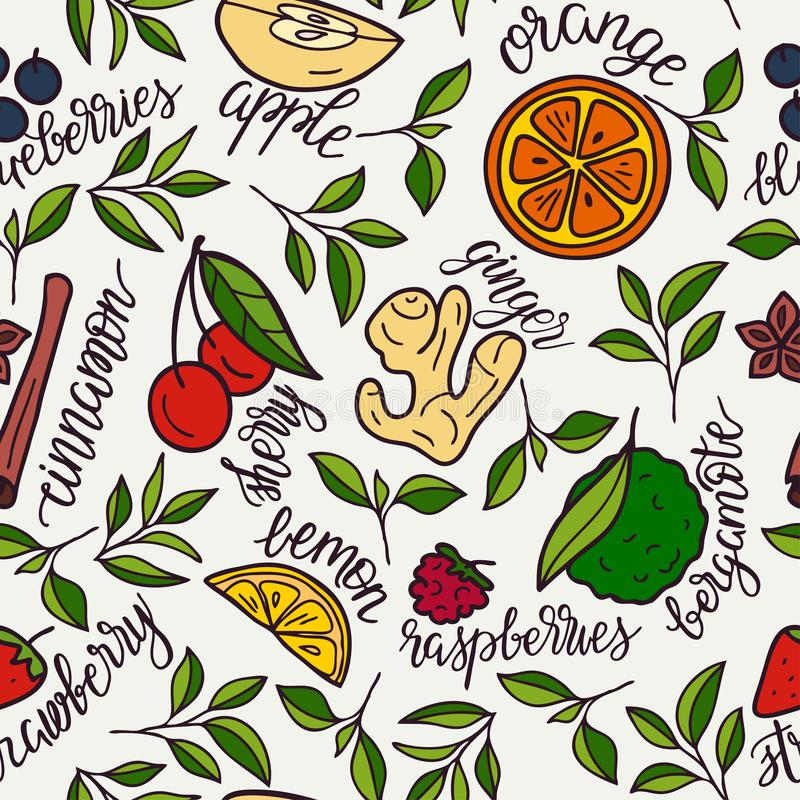 Seamles pattern with herbal and fruit tea ingredients. Vector design with herbal and fruit tea ingredients. Suitable for cafes, advertising tea, wallpaper stock illustration